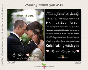 Magazine Style Wedding Photo Thank You Card - Printable or Printed Cards