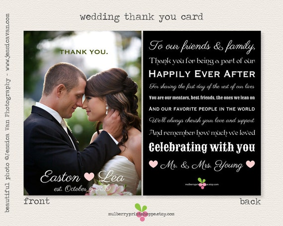 Magazine Style Wedding Photo Thank You Card By MulberryPrintShoppe