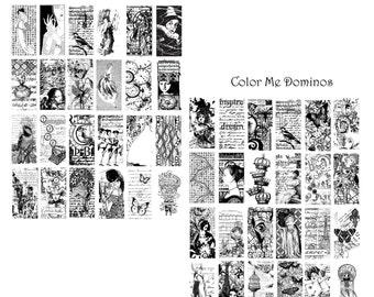 You Color It Domino Digital Collage Set