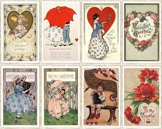 Items similar to Vintage Valentine Gift Tags, 8 Printable ...