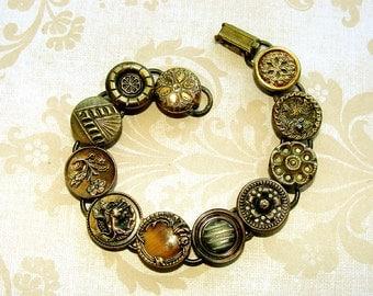 Antique Victorian Picture Button Brass and Glass Charm Bracelet  SALE,  Edwardian, Victorian buttons. Downton Abbey, SALE