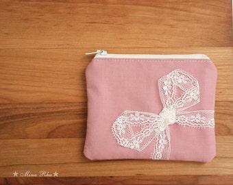 Lace Coin Purse Little Zipper Pouch Pink Coin purse wallet Purse Lace Bow Small Purse Zipper Card Pouch