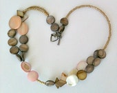 Brown Shell Statement Necklace, Handmade Shell Necklace, Gift in Handmade Jewelry