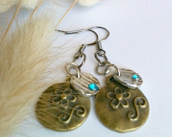 Antique Gold and Silver Earrings with Accented Aqua Blue Focal Gem