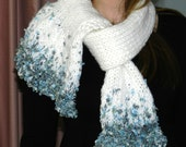 Snowflake Scarf......White Worsted Yarn, Shades of Steel Blues Art Yarn Accent, Fringe, Soft and Cozy, Elegant Drape