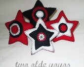 BOWL FILLER STARS Red White Blue Felt Set of Four Home Decor Table Décor Photo Props Memorial Day July Fourth Americana Patriotic