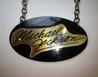 Recycled Michael Jackson cd necklace