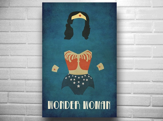 Wonder woman minimalist comic poster geekery art vintage