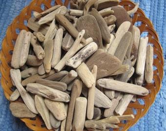 """Driftwood-100 Small Pieces of Bulk Drift Wood, 2"""" to 5""""--Craft Supplies, Beach Wedding Decor"""