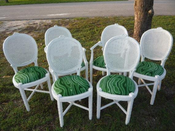 Vintage Set 4 Faux Bois Dining Chairs Side Green By Feelinvintage