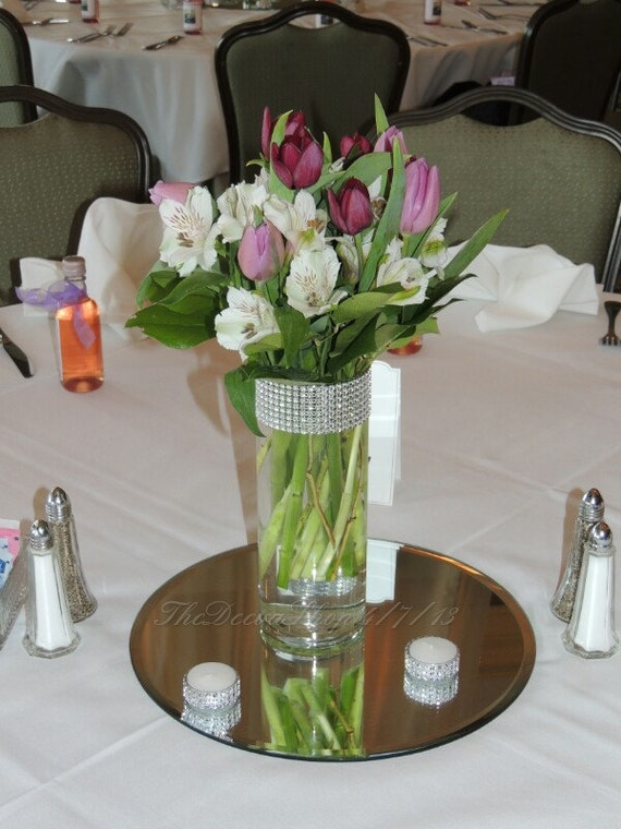 Items Similar To Glass Cylinder Vases Bling Wedding Centerpieces Silver Rhinestone Tall Vases