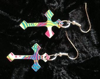 Duct Tape Multi-Color Cross Earrings