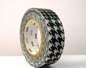 "SALE mt Washi Tape Single roll ""Black Houndstooth"" by mt. 15 meters Discontinued size and color!!!"