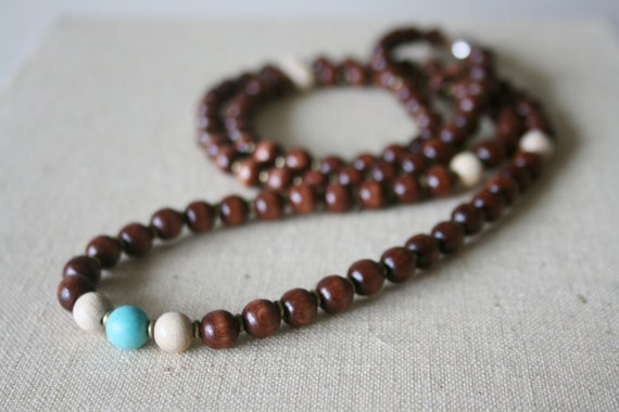 Turquoise brown birch Mala // handmade