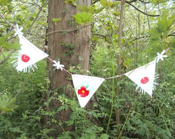 Outdoor Red Flower  Bunting 36 inch long /0.9m