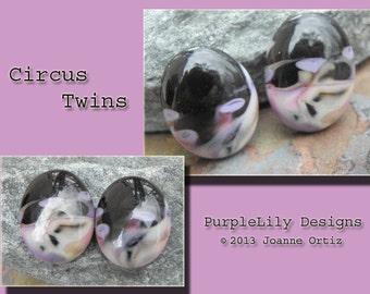 Circus Twins, Lampwork Cabochons,ThePurpleLilyBeads,SRA