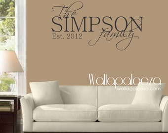 Family Name Monogram - Family Wall Decal - Family Wall Art -  Custom wall decor - Monogram - Home decor - Family wall decor - Wall Sticker