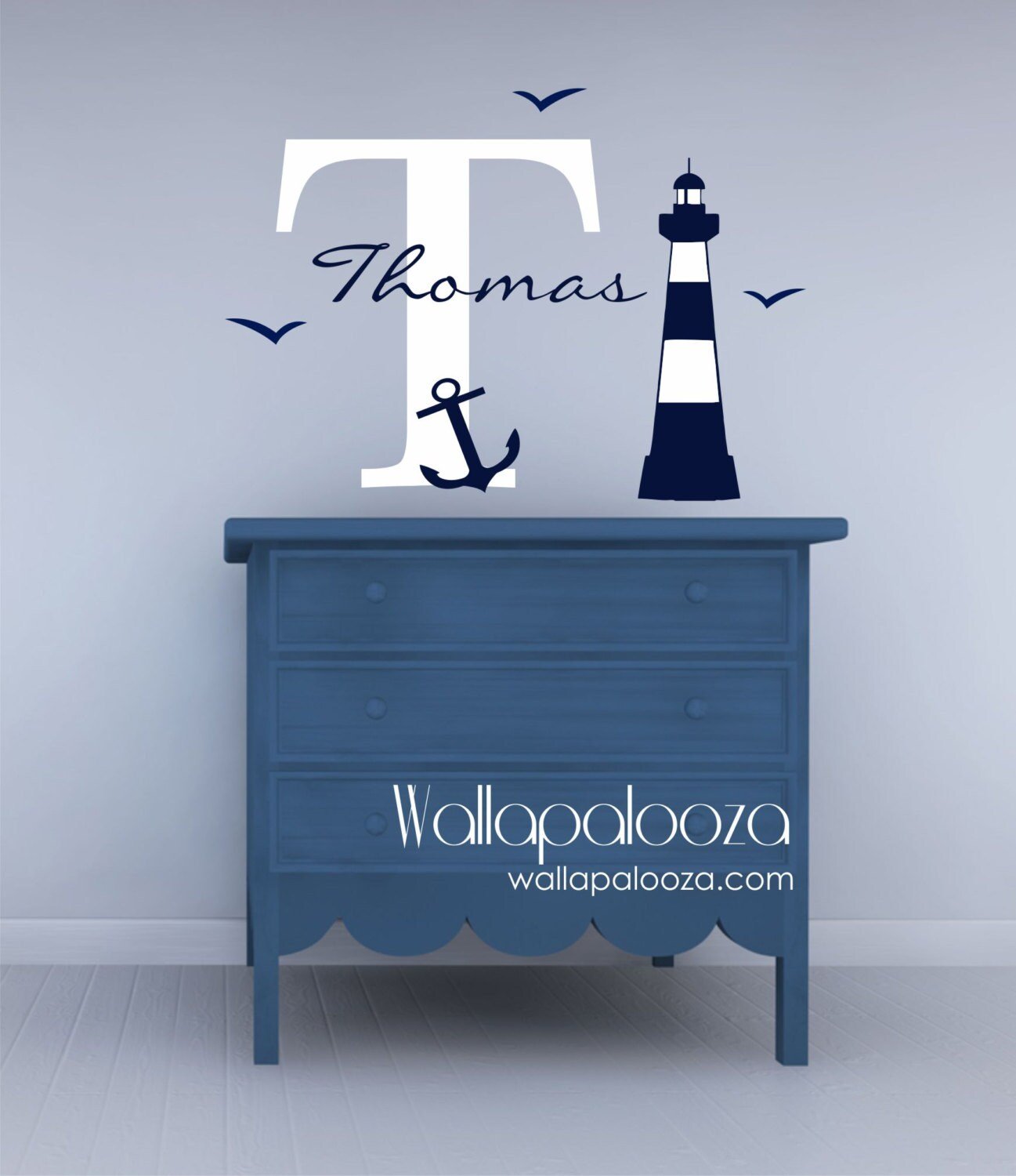 nautical wall decal boys room wall decal kids name wall. Black Bedroom Furniture Sets. Home Design Ideas