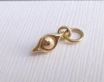 Natural Bronze Pea in a Pod Charm -- 1 Piece -- Mini Gold Pendant