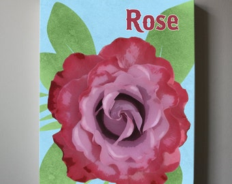 Spring Flowers Canvas art, Baby Nursery ,Rose nursery art, Girls Room Decor Canvas reproduction