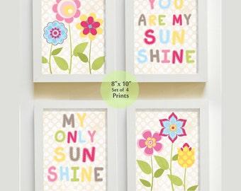 Nursery Art - You are My Sunshine Prints for Girls Nursery or Playroom,  Baby Nursery Decor, set of four Prints