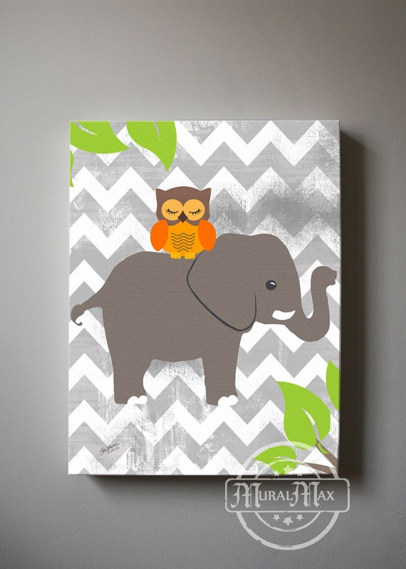 owl and elephant canvas art baby nursery wall art jungle. Black Bedroom Furniture Sets. Home Design Ideas