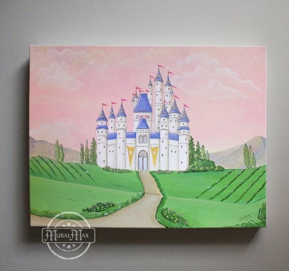 Girl nursery decor princess canvas art baby nursery for Fairy mural ideas