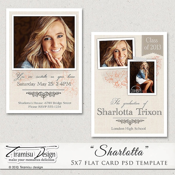 5x7 senior graduation announcement card photoshop template. Black Bedroom Furniture Sets. Home Design Ideas
