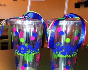 Personalized Wedding Flower Girl Tumbler Cup Glass