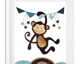 Monkey Nursery print, Nursery decor, Nursery art, Jungle nursery, boys room art, Kids wall art - Happy little monkey