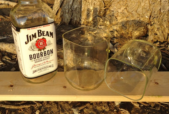 Jim Beam Bourbon Drinking Glasses Made From Recycled Jim Beam