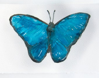 Watercolor painting of butterfly. Art original. Insects art. Aqua blue turquoise butterfly painting. Small watercolor 7,5 by 11 inches