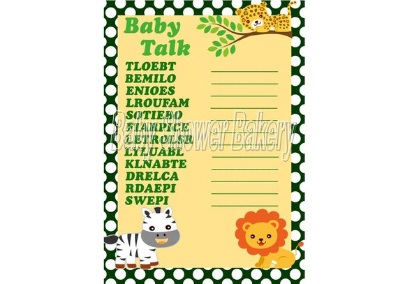 Baby Shower Word Scramble Game, Printable Baby Shower Game, Jungle ...