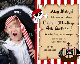 Custom Pirate Birthday Invitation with Photo