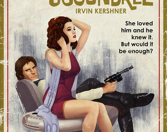 """Art Print- Star Wars Pulp, part 5- The Princess and the Scoundrel (24""""x36"""")"""