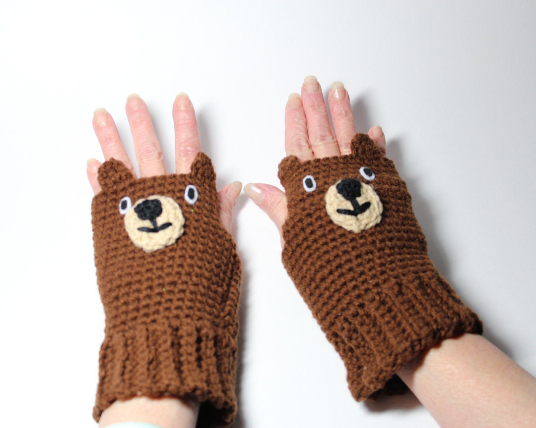 bear fingerless gloves animal mittens brown crochet mitts. Black Bedroom Furniture Sets. Home Design Ideas
