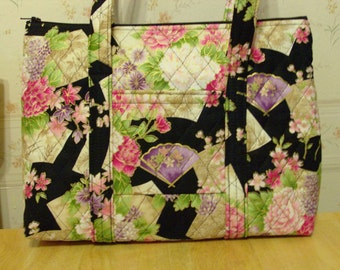 Pink Flowers Green Leaves Purple Fans Black Print Quilted Purse