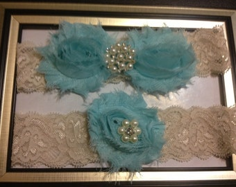 Aqua/Blue Wedding Garter -  Bridal Garter Set - Ivory Stretch Lace Aqua/Blue Chiffon Flowers - Pearl Rhinestone embellishment...