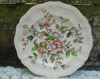 "Vintage Royal Doulton Monmouth, 10 1/2"" Floral Dinnerware, English Transferware, Serving, Tableware,"