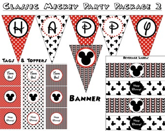 Classic Mickey Party Package - Instant Download