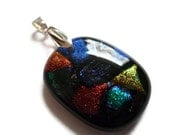 Fused Dichroic Glass Pendant With Pinch Bail Jewellery Suplies (1)