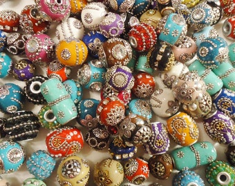 Variety of 15 Heavily Embellished Beads