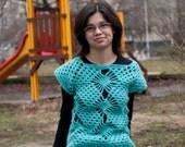 Green Sleeveless Sweater Top mohair crochet unique handmade