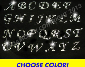 PICK 10 letters - Alphabet letters rhinestone iron on transfer - CHOOSE COLOR