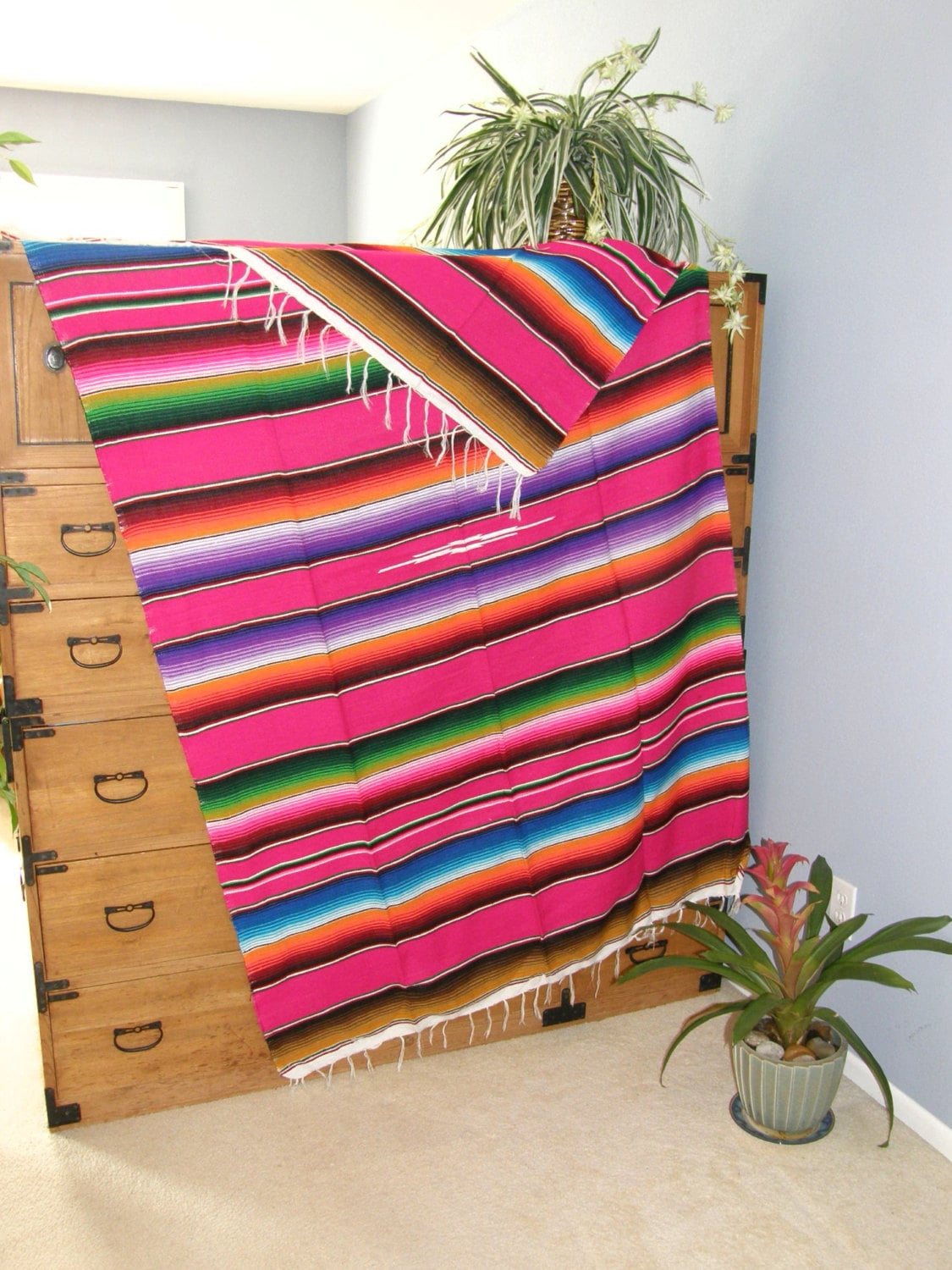 Pink Mexican Blanket Serape Style Hot Pink Gorgeous New