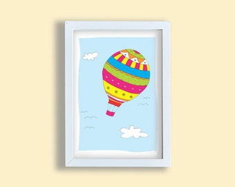 Colorful children art print, balloon, nursery art, blue sky art print, kids room wall art, rainbow colors