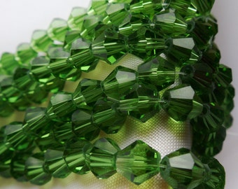 50pcs 6mm Green Crystal Bicones Like FERN GREEN Swarovski Crystals A Grade for Diy Jewelry Beads & Beading Supplies   pping