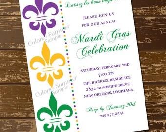 Fleur De Lis Mardi Gras Invitation, Mardi Gras Colors, Purple, Gold, Green, New Orleans, Parade, Lassis les bon temps rouler - Digital File