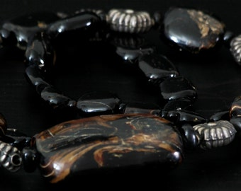 Dramatic Rare Vintage Tribal Black Coral Necklace