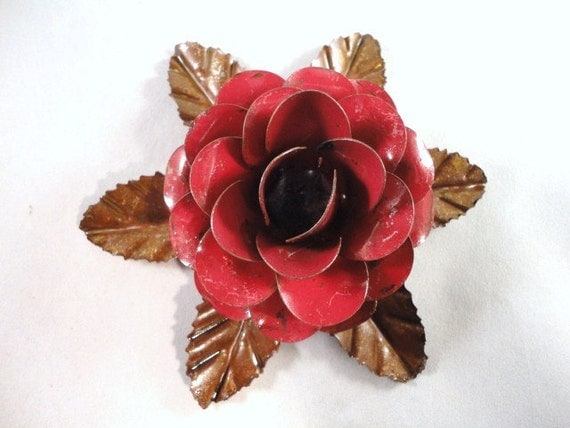 Large Metal Hand Cut and Hand Painted Rustic Red Rose Mounted on a Bed of Metal Leaves.